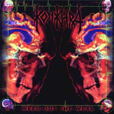 "WEED OUT THE WEAK (1997) Recorded in Take One, Denmark, The Laughing Tiger, San Rafael, CA and Sound Temple Studio Oakland, CA. Produced by Konkhra and James Murphy March 1997. Also released in a remixed version in digipack CD-Rom format. Remixed by Vincent Wojno and Michael Rosen. Also included is the promovideo for ""Heavensent"". Presales in Europe exceed 15.000 copies.    Line up: Anders Lundemark – Guitar + vocals. Chris Kontos – Drums. Thomas Christensen – Bass. James Murphy – Guitar.    Track list : 1. Heavensent 2. Time Will Heal 3. Crown Of The Empire 4. Kinshasa Highway 5. Through My Veins 6. The Reckoning 7. Misery 8. Melting 9. Inhuman 10. Pain And Sorrow 11. My Belief"